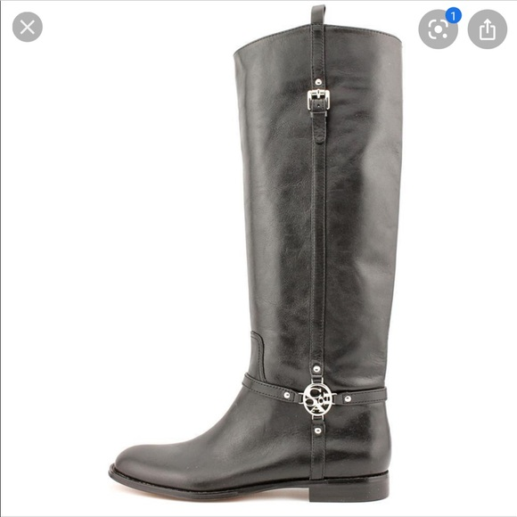 Coach Mulan riding boots black leather